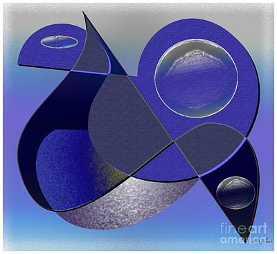 Art Print featuring the digital art Bluebird by Iris Gelbart