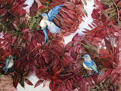 Painting - Bluebirds Love Sumac by Helen Klebesadel