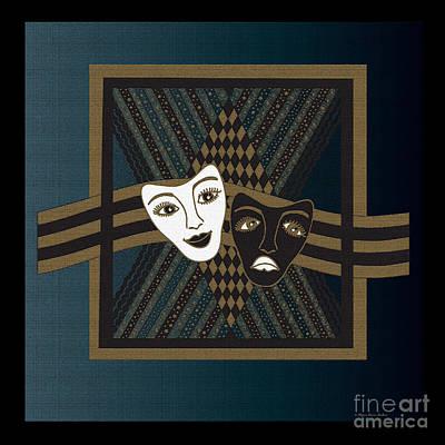Digital Art - Blueblack Janus Masks by Megan Dirsa-DuBois