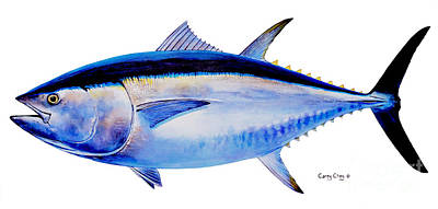 Reeling Painting - Bluefin Tuna by Carey Chen