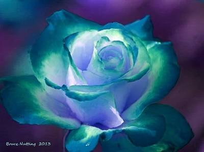 Green Painting - Bluegreen And White Rose by Bruce Nutting