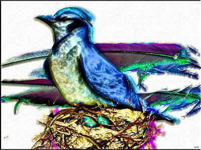 Bluejay Digital Art - Bluejay Nesting by Daniel Janda