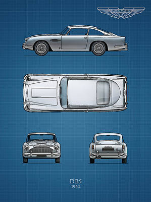 Aston Martin Photograph - Blueprint Aston Martin Db5 by Mark Rogan
