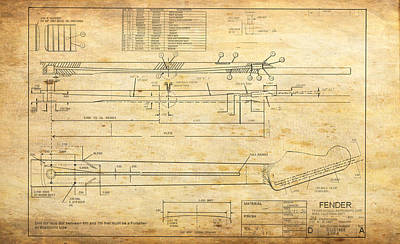 Stratocaster Drawing - Blueprint For Rock And Roll by GCannon