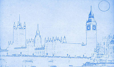 Big Government Mixed Media - Blueprint London by Celestial Images