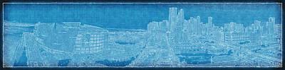Blueprint Of Downtown Miami Art Print by Joe Myeress
