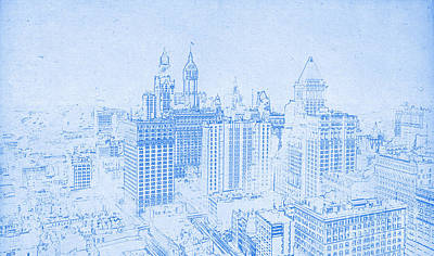 Drawing - Blueprint Of Lower Manhattan New York 1912 by Celestial Images