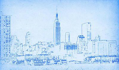 Digital Art - Blueprint Of New York City by Celestial Images