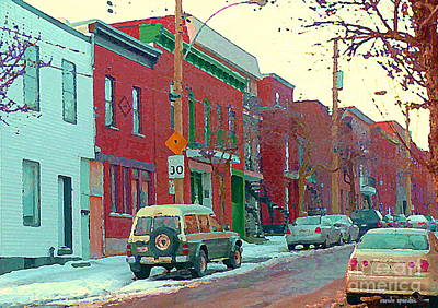 Blues And Brick Houses Winter Street Suburban Scenes The Point Sud Ouest Montreal Art Carole Spandau Art Print by Carole Spandau
