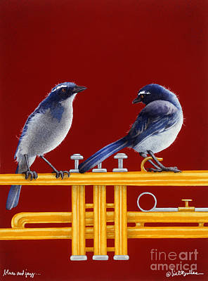 Bluejay Painting - blues and Jazz... by Will Bullas
