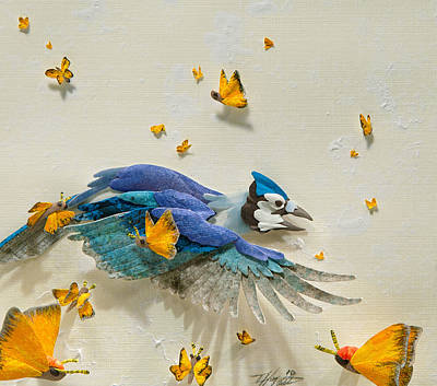 Bluejay Mixed Media - Blues And Sulphers by Tiffany Miller Russell