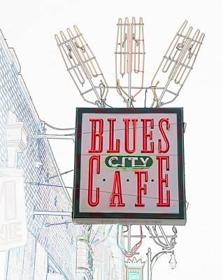 Digital Art - Blues City Cafe Sign by Liz Leyden
