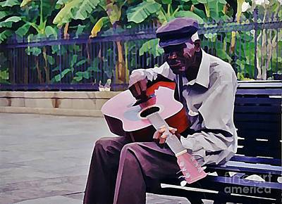Blues Guitar Player In New Orleans Art Print by John Malone