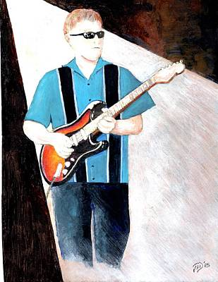 Painting - Blues Guitarist Tony Fazio by Joe Dagher