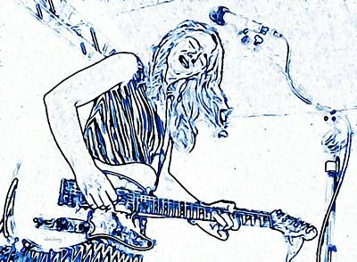 Blues Singer Drawings Photograph - Blues In Blue by Chris Berry