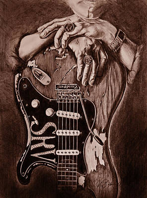 Stevierayvaughn Drawing - Blues Legend by Art Imago
