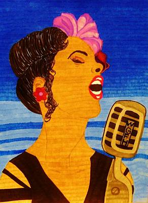 Drawing - Blues Singer by Celeste Manning