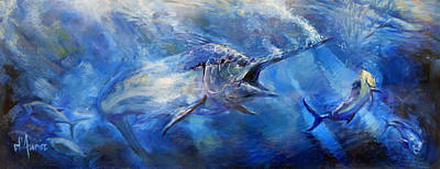 Shark Painting - Blues by Tom Dauria