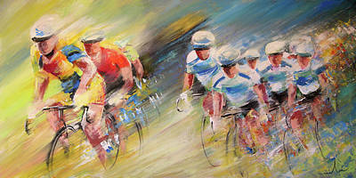 Sports Paintings - Blues United by Miki De Goodaboom