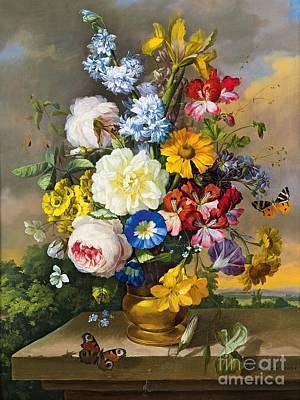 Butterflys Painting - Blumenstillleben by Pg Reproductions