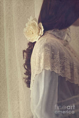 Photograph - Blur Side View Of A Girl With Flower In Her Long Brown Hair by Sandra Cunningham