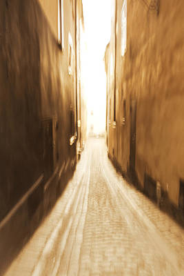 Blurred Alley - Monochrome Art Print by Ulrich Kunst And Bettina Scheidulin