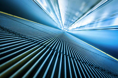Photograph - Blurred Motion Of Airport Moving Walkway by Bjdlzx