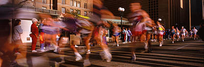 Accelerate Photograph - Blurred Motion Of Marathon Runners by Panoramic Images