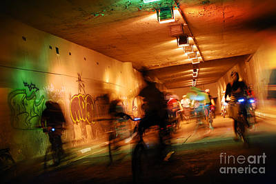 Photograph - Blurred Urban Cycling At Sao Paulo Undergrounds by Carlos Alkmin