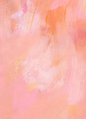 Beach House Signs - Blush- abstract painting in pinks by Linda Woods