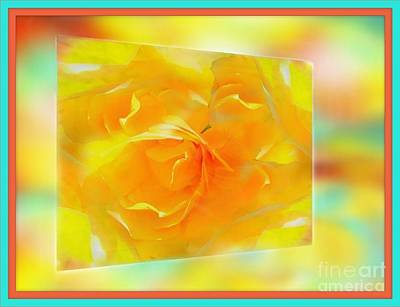 Photograph - Blushing Yellow Rose Framed by Becky Lupe
