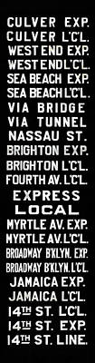 Photograph - Bmt Subway Roll Sign by Jim Poulos
