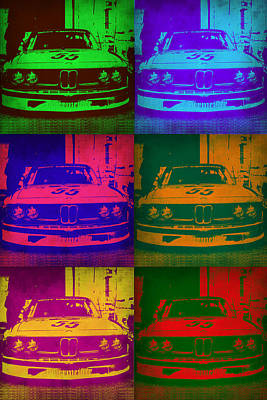 Old Cars Painting - Bmw 2002 Front Pop Art 1 by Naxart Studio