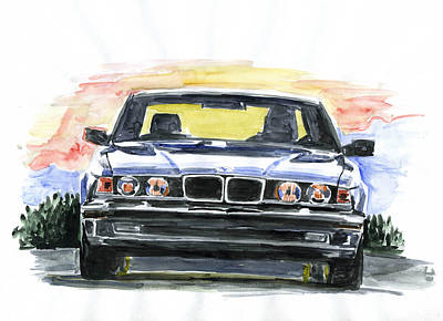 Bmw E32 Art Print by Ildus Galimzyanov