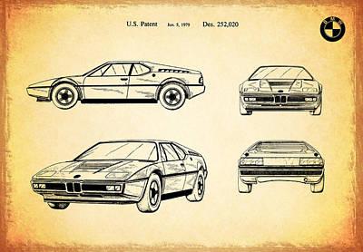 Bmw M1 Photograph - Bmw M1 Patent 1979 by Mark Rogan