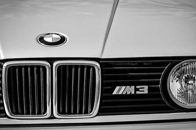 Black And White Images Photograph - Bmw M3 Hood Ornament - Grille Emblem -0311bw by Jill Reger