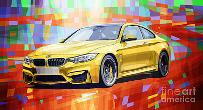 Automotive Digital Art - Bmw M4 Orange by Yuriy Shevchuk