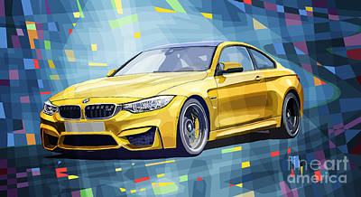 Yellow Digital Art - Bmw M4 Blue by Yuriy Shevchuk
