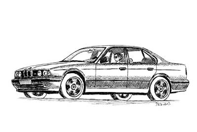 Drawing - Bmw M5 E34 by Milan Surkala