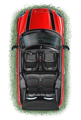 Mini Cooper Digital Art - Bmw Mini Cooper S Cabrio Red by David Kyte