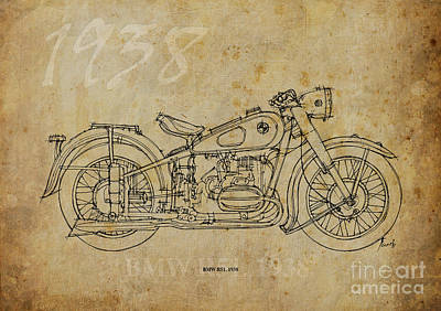 Bicycle Drawing - Bmw R51 1938 by Pablo Franchi