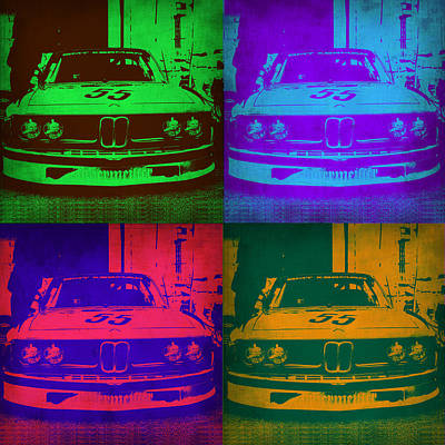 Old Cars Painting - Bmw Racing Pop Art 1 by Naxart Studio