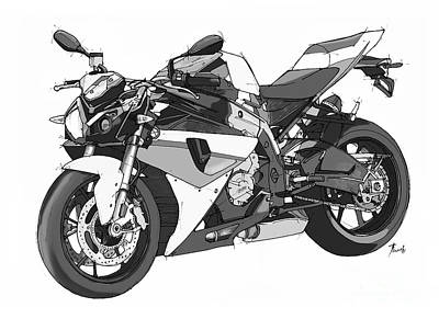 Motorcycle Drawing - Bmw S 1000 R 2013 by Pablo Franchi