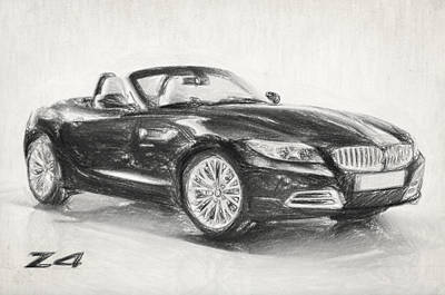 Drawing - Bmw Z4 Sketch by Taylan Apukovska