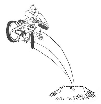 Drawing - Bmx Dirt Jump by Mike Jory