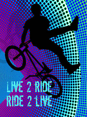 Silos Figure Edgy Silo Games Painting - Bmx Fractal Movie Marquee Live 2 Ride Ride 2 Live by Elaine Plesser