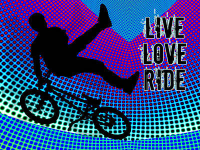 Silos Figure Edgy Silo Games Painting - Bmx Fractal Movie Marquee Live Love Ride by Elaine Plesser