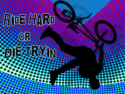 Silos Figure Edgy Silo Games Painting - Bmx Fractal Movie Marquee Ride Hard Or Die Tryin by Elaine Plesser