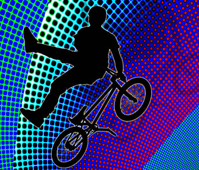 Bmx In Fractal Movie Marquee Art Print by Elaine Plesser