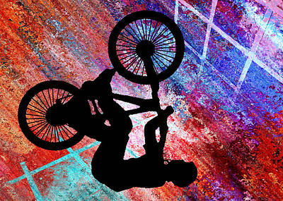 Silos Figure Edgy Silo Games Painting - Bmx On Rusty Grunge by Elaine Plesser